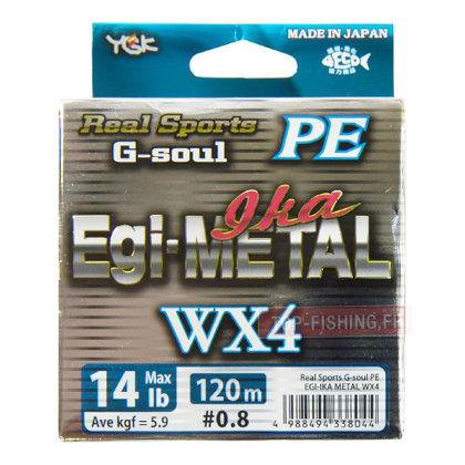 Шнур YGK Real Sports G-Soul PE EGI-IKA METAL WX4 #1.0/8,1кг/0,165мм/120м